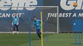 تمرین بارسلونا پیش از دیدار با منچستریونایتد