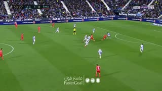 گل اول رئال مادرید به  لگانس توسط بنزما (هفتۀ سیودوم لالیگا اسپانیا)