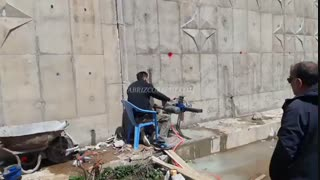 پایانه مرزی تمرچین / کرگیری از دیوار حائل بتنی