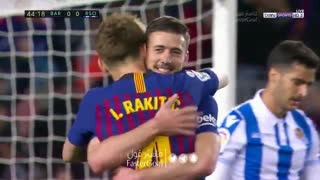 گل اول بارسلونا به رئال سوسیداد توسط لنگلت