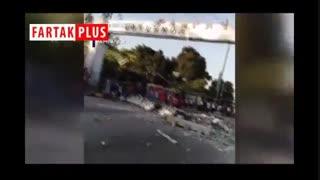 لحظه منفجر شدن تانکر آب یک آسمانخراش پس از زلزله