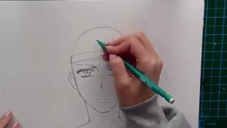 آموزش نقاشی پسر انیمه ای تمام رخ