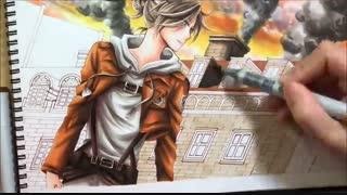 نقاشی از آنی (حمله به تایتان) attack on titan speed drawing