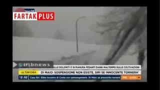 بارش برف یک متری در ایتالیا!