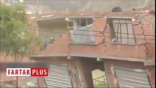لحظه تخریب خانهها بر اثر رانش زمین در بولیوی