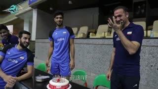 جشن تولد پیمان اکبری و سعید رنجبر در تمرین تیم ملی والیبال