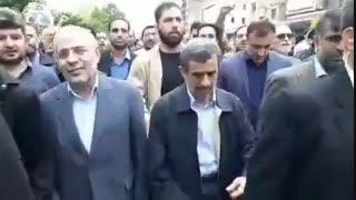 همراهی دکتر احمدی نژاد در راهپیمایی روز قدس با شعارهای...