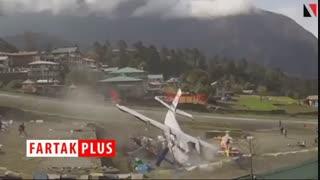 لحظه برخورد یک هواپیما با دو هلی کوپتر در فرودگاه