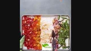 سالاد سبزیجات با میگوی سوخاری  - سبزی لاین