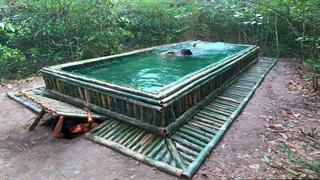 ساخت استخر بامبو با دست