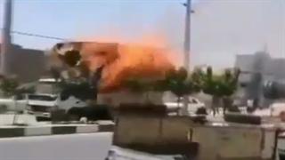 کامیونی که خیابان های قم را به آتش کشید