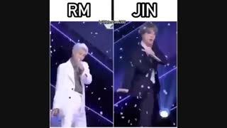 خب؛حالا بگین ببینم کی دنسر بدیه جین یا نامجون؟؟؟(bts/jin/namjoon/funny moment/kim seokjin)