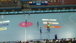 دیدار تیم های ملی هندبال اسپانیا و اسلوونی در قهرمانی نوجوانان جهان2019