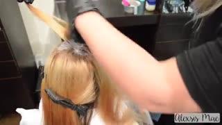 آموزش رنگ مو بنفش- مومیس مشاور و مرجع تخصصی مو