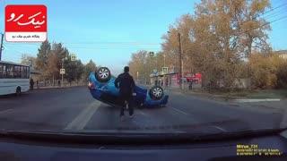چپ کردن یک خودرو پس از تصادف!