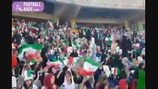 اهتزاز پرچم های ایران در جایگاه بانوان