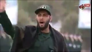 رجزخوانی حماسی  رزمنده سپاه در پیشگاه مقام معظم رهبری