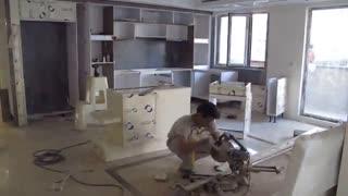 نصب کابینت های گلاس توسط نیکا چوب